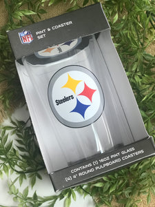 Pittsburgh Steelers Pint Glass & Coaster Set