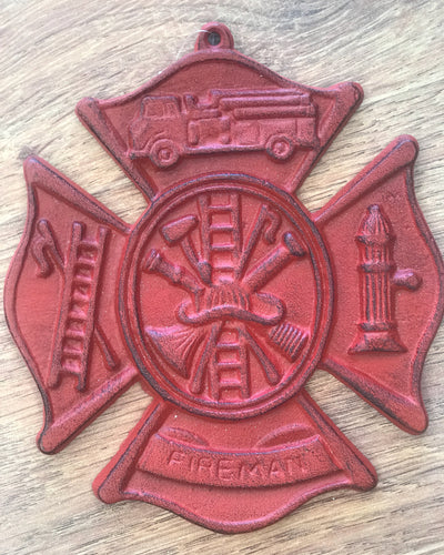 Firefighter Cast Iron Plaque