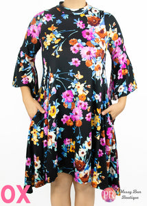 0X Black Floral Paisley Raye Lotus Dress