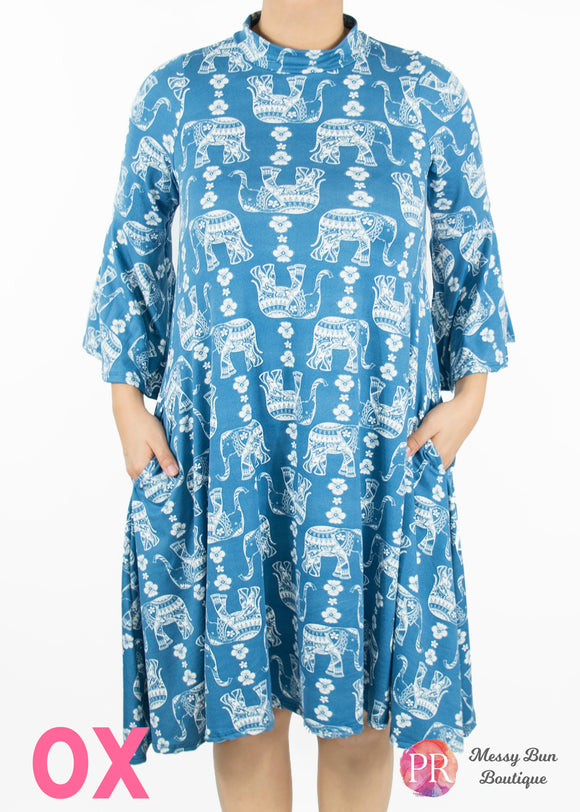 0X Blue Elephant Lotus Dress