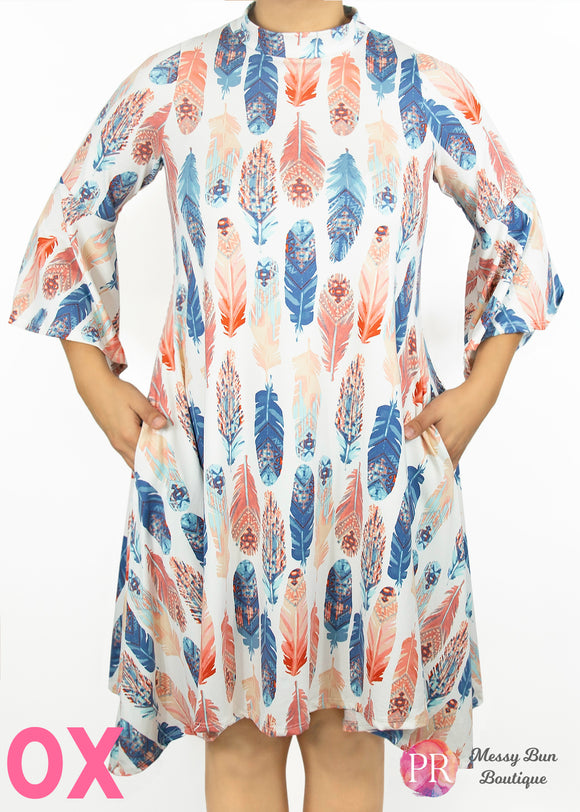 0X Feather Print Paisley Raye Lotus Dress