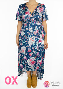 0X Blue Floral Paisley Raye Primrose Dress