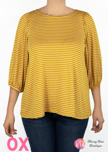 0X Mustard Striped Paisley Raye Violet Top