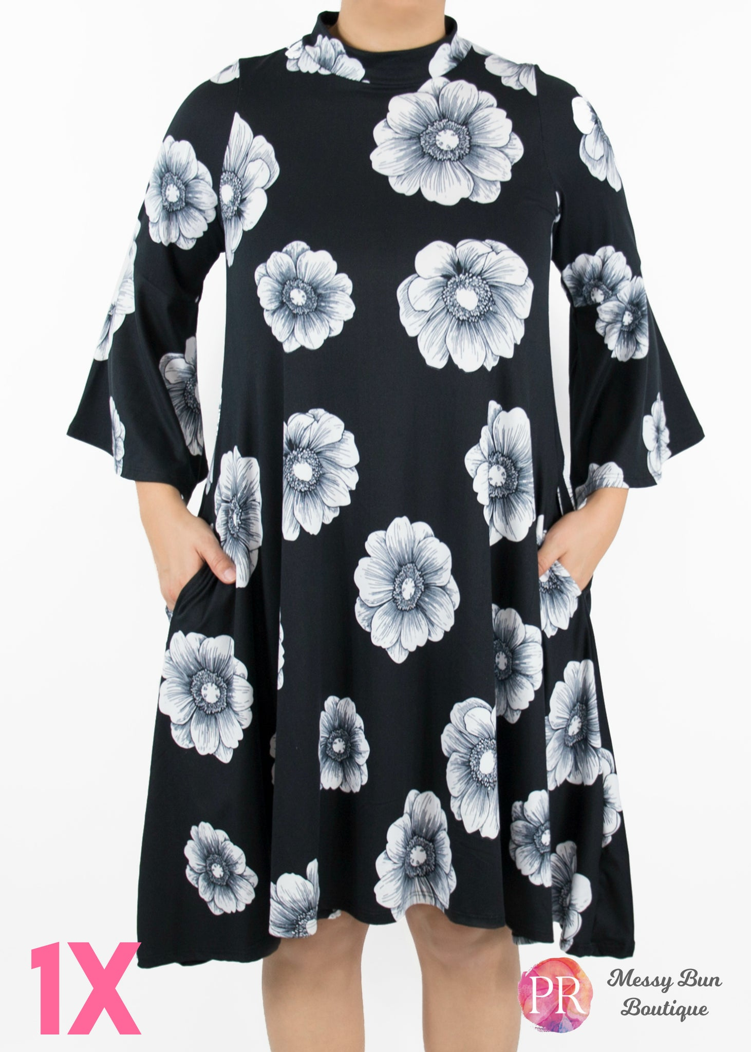 1X Black and Blue Floral Paisley Raye Lotus Dress