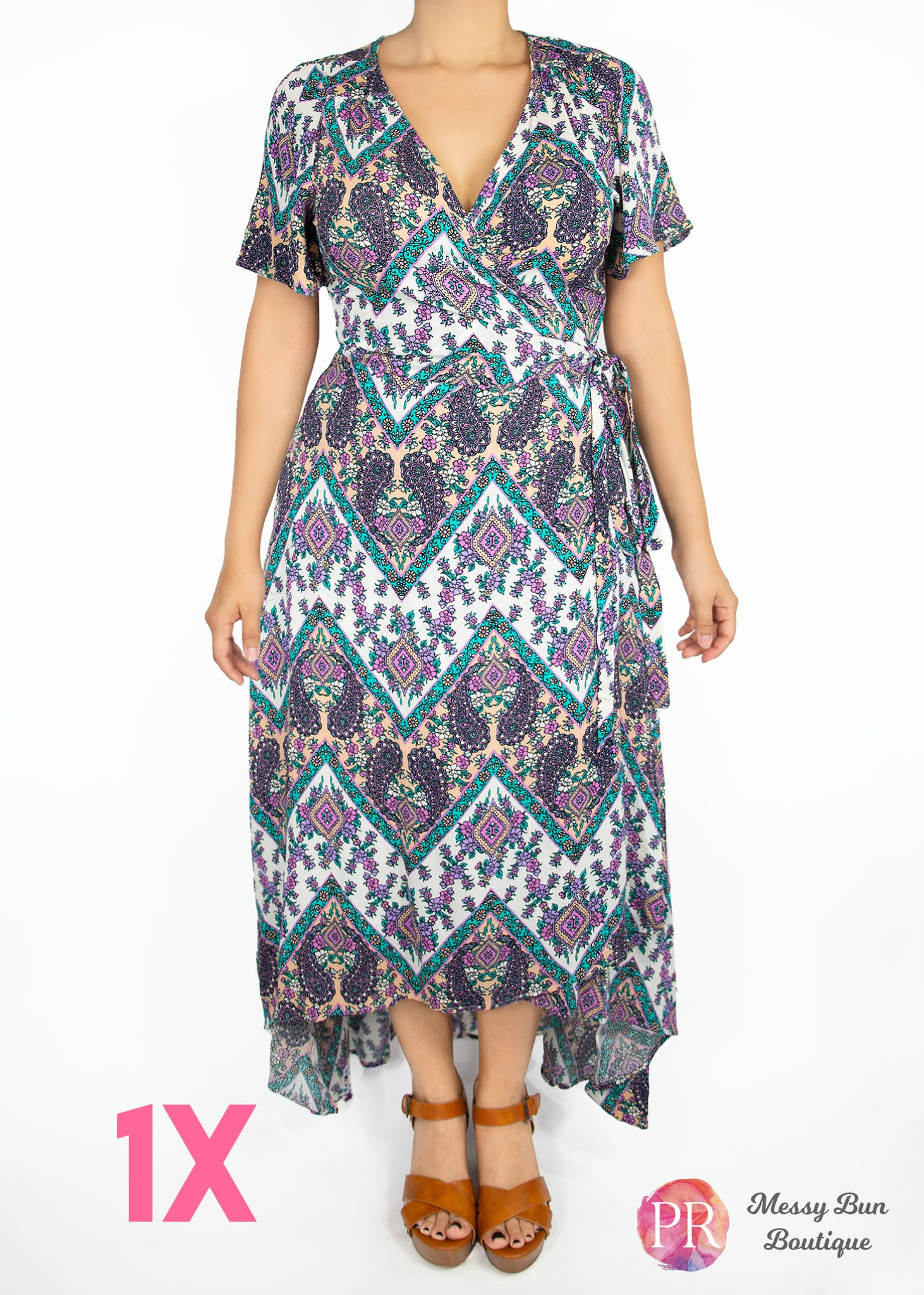 1X Purple and Blue Patterned Paisley Raye Primrose Dress