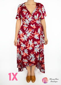 1X Rust Floral Paisley Raye Primrose Dress
