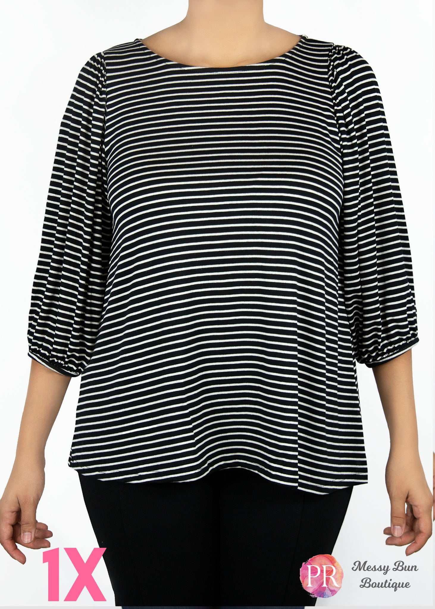 1X Black and White Striped Paisley Raye Violet Top