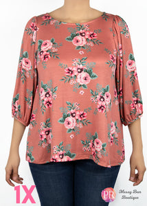 1X Pink Floral Paisley Raye Violet Top