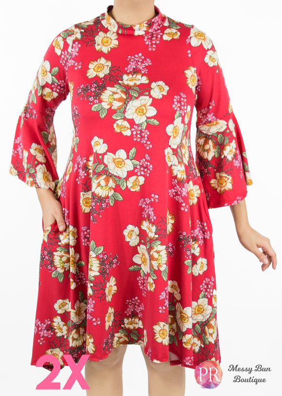 2X Red Floral Paisley Raye Lotus Dress