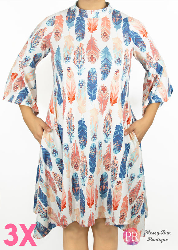 3X Feather Paisley Raye Lotus Dress