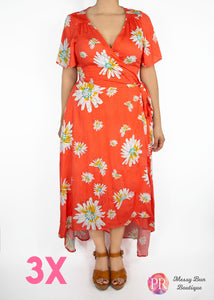 3X Orange Floral Paisley Raye Primrose Dress