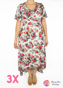 3X White Floral Paisley Raye Primrose Dress