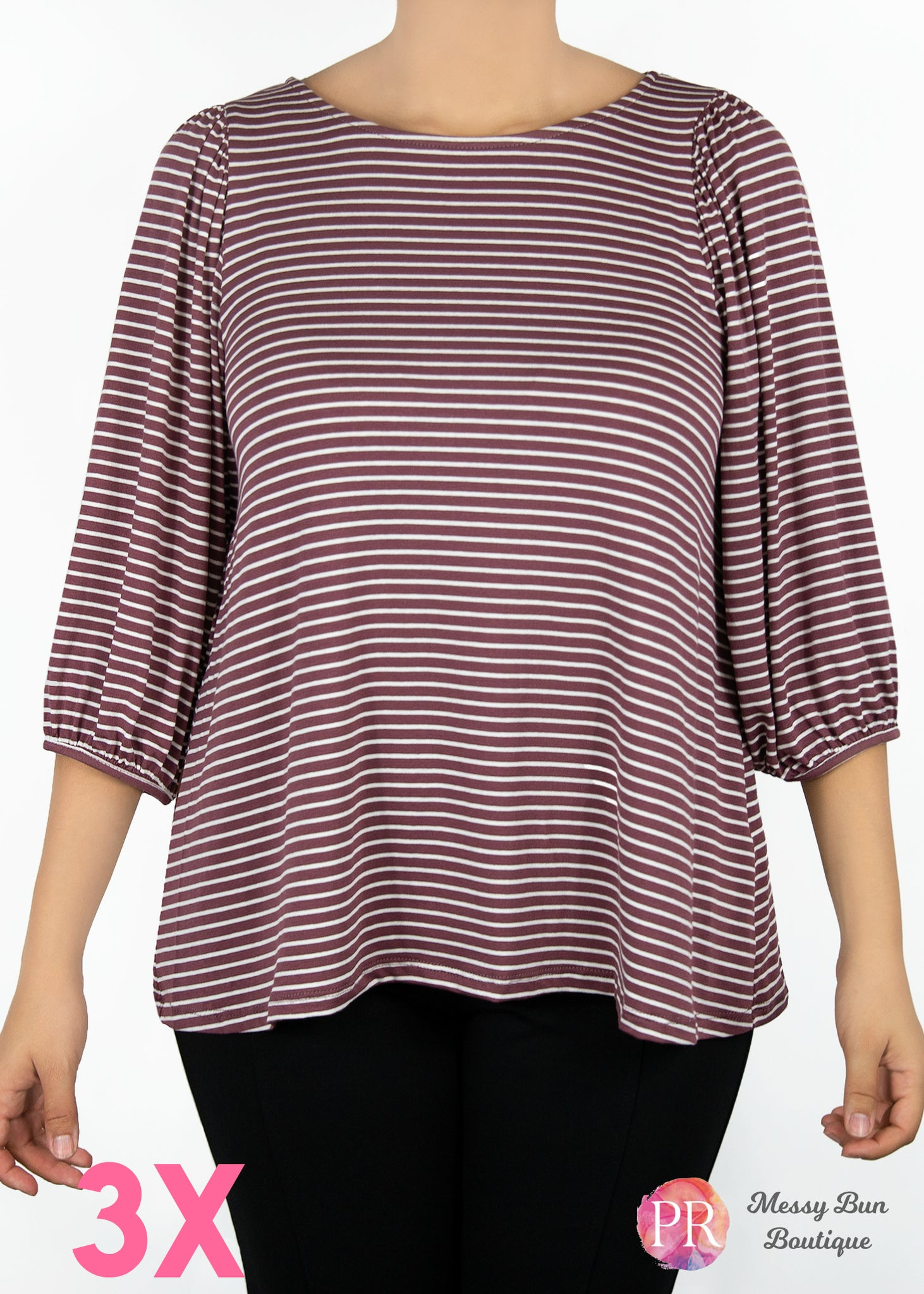 3X Striped Paisley Raye Violet Top