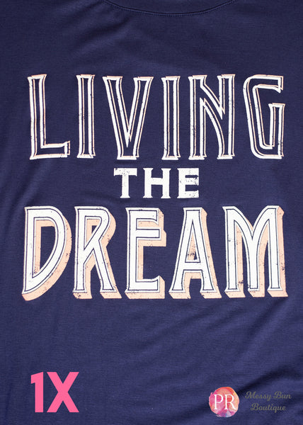 "1X Blue ""Living the Dream"" Paisley Raye Graphic Tee"