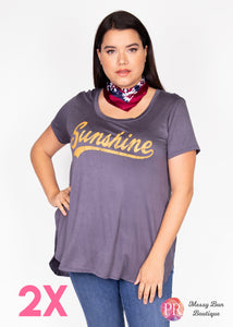 "2X ""Sunshine"" Paisley Raye Graphic Tee"