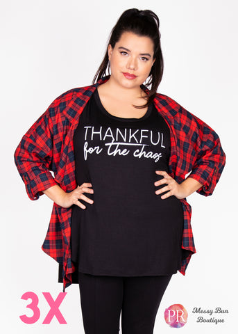 "3X ""Thankful for the Chaos"" Paisley Raye Graphic Tee"
