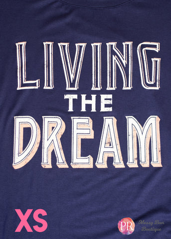 "XS Blue ""Living the Dream"" Paisley Raye Graphic Tee"