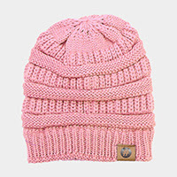 Women's Light Pink Solid Knitted Beanie