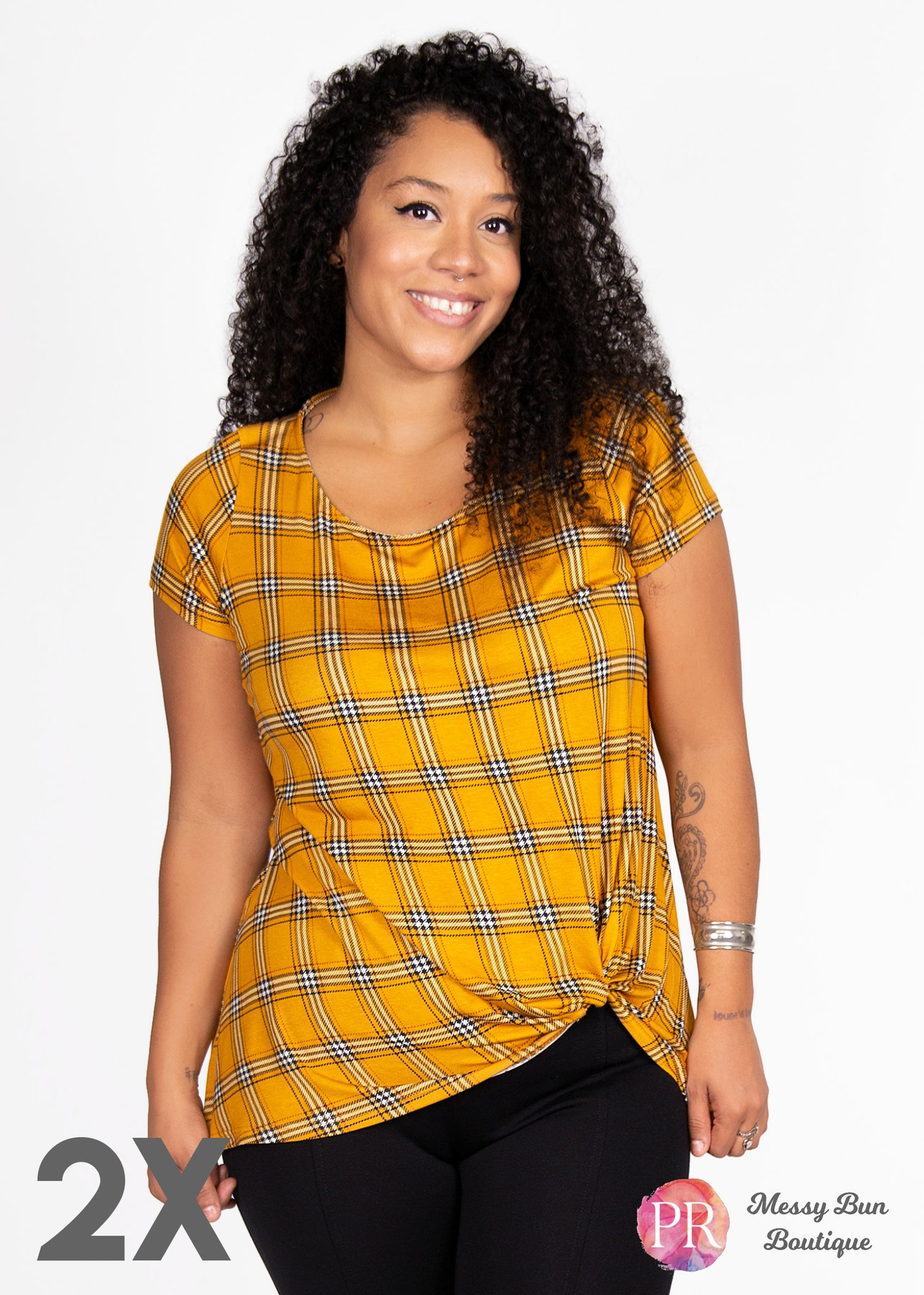 2X Yellow Plaid Paisley Raye Nerine Tee