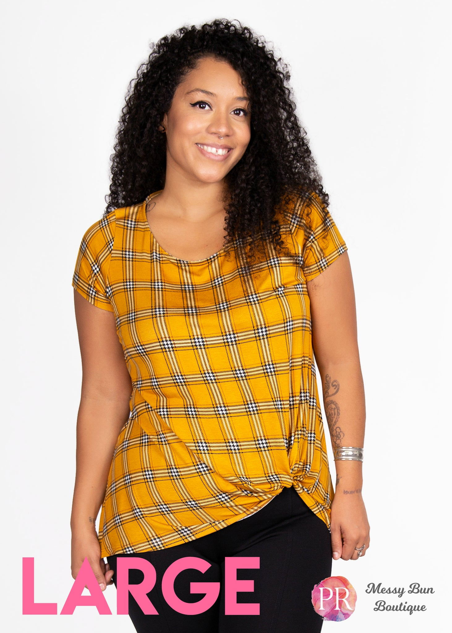 Large Yellow Plaid Paisley Raye Nerine Tee