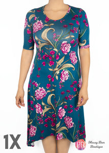 1X Teal Floral Paisley Raye Poppy Dress