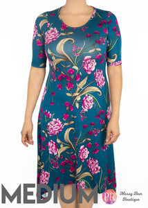 Medium Teal Floral Paisley Raye Poppy Dress