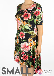 Small Black Floral Paisley Raye Poppy Dress