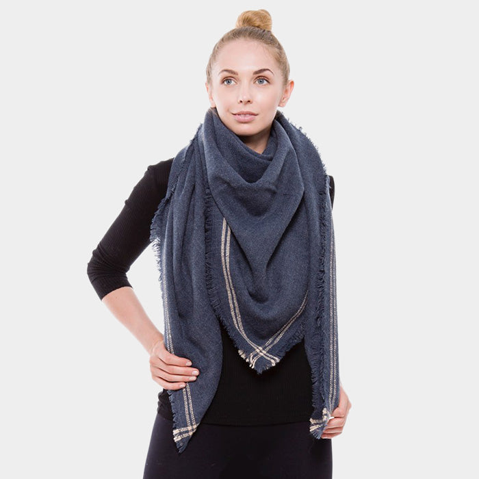 Navy Solid Lined Blanket Scarf