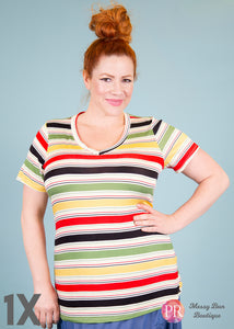 1X Colorful Striped Paisley Raye Fitted V-Neck Tee