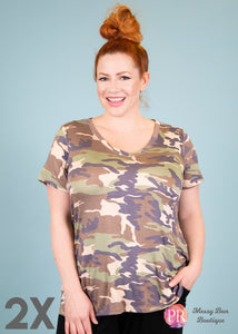2X Camouflage Paisley Raye Fitted V-Neck Tee