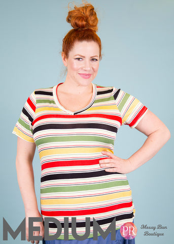 Medium Multi-Colored Striped Paisley Raye Fitted V-Neck Tee