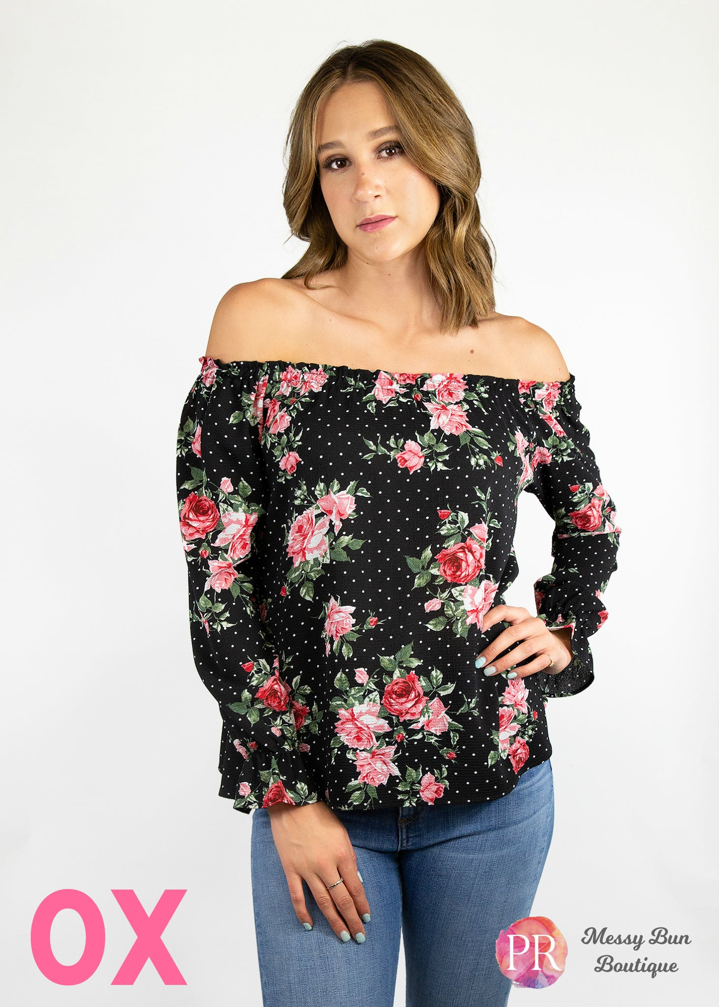 0X Black Floral Paisley Raye Willow Top