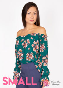 Small Green Floral Paisley Raye Willow Top