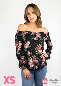 XS Black Floral Paisley Raye Willow Top