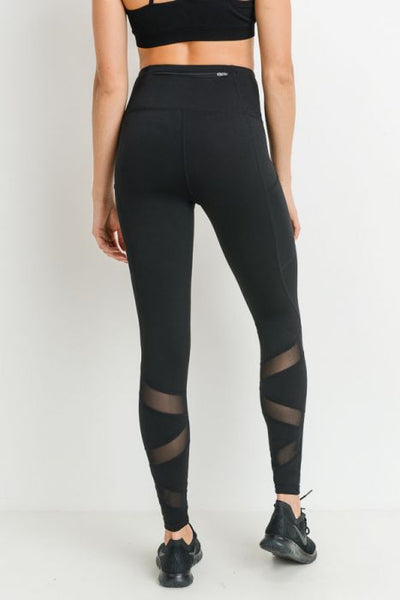 Black Highwaist Ziggy Zag Pocket Full Leggings