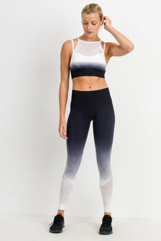 Ombre Leopard Dip-Dye Seamless Perforated Leggings