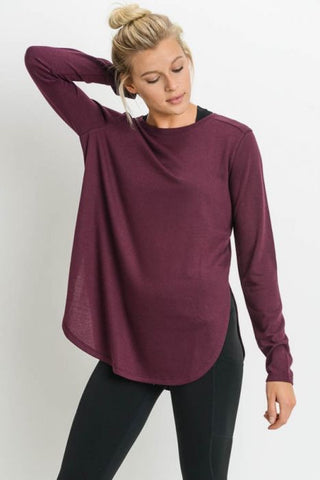 Long Sleeve Flow Top in Burgundy
