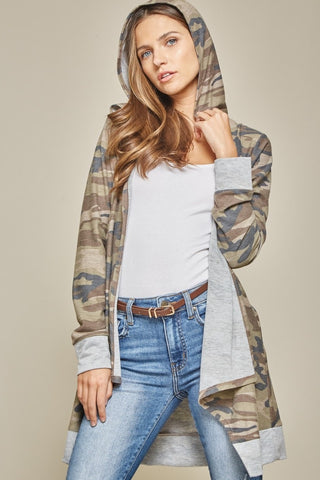 Camo Open Front Cardigan