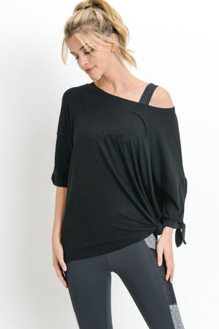 Black Dolman Tie-Sleeve Tunic Shirt