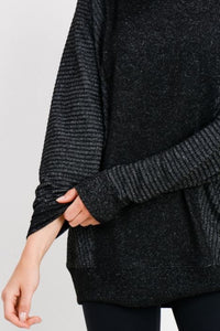 Mixed Hacci Round-Neck Sweater