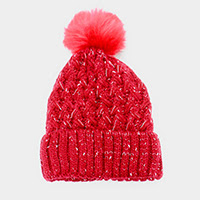 Women's Red Knit Pom Pom Hat