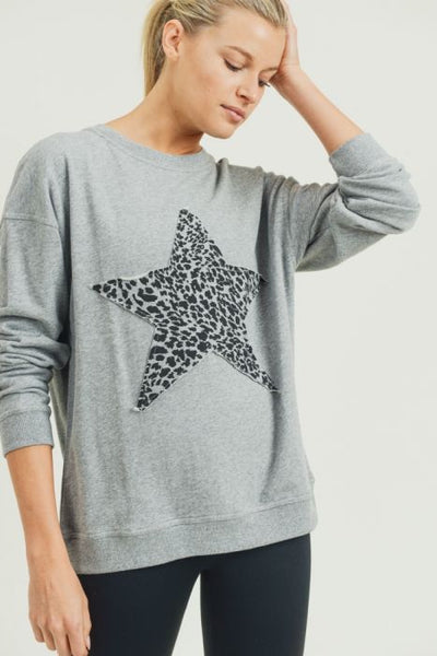 Dark Grey Cheetah Terry Star Sweatshirt