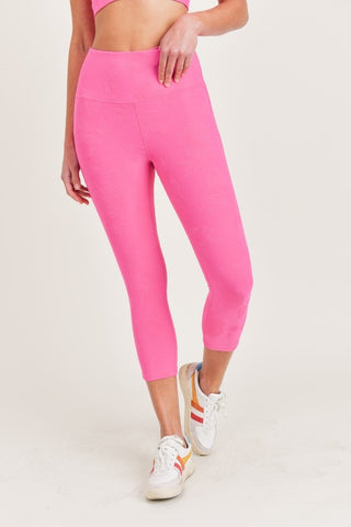 Pink Textured Roses Highwaist Capri Leggings