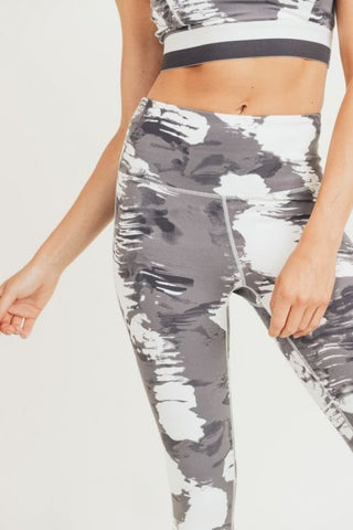 White Clouds Print Highwaist Leggings