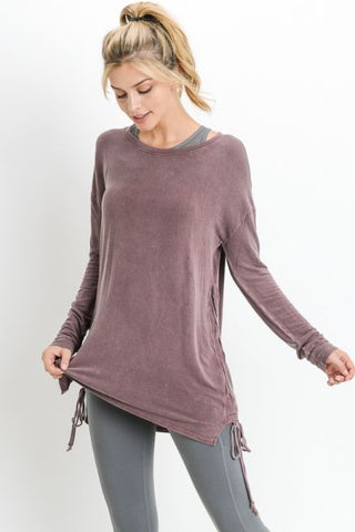 Mineral Wash Side Spaghetti Strap Accent Long Sleeve Tunic