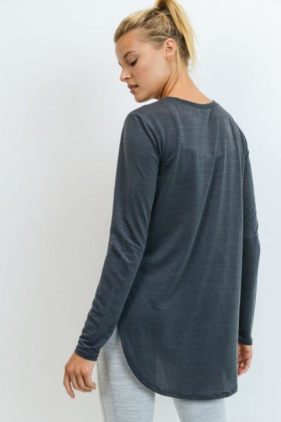 Dark Gray Ribbed Mesh Long Sleeve Flow Top with Side Slits