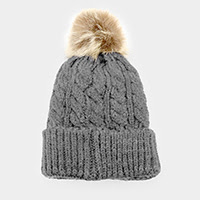 Women's Grey Knit Pom Pom Hat