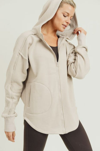 Natural Longline Zip-Up Hoodie Jacket