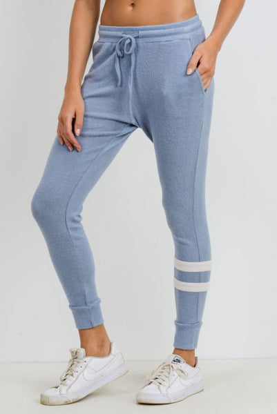 Mono B Light Blue Asymmetrical Double Striped Essential Joggers