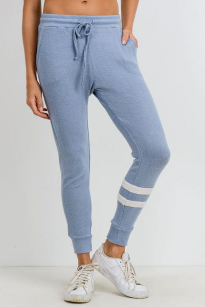 Light Blue Asymmetrical Double Striped Essential Joggers